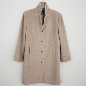 Giacca Alpaca Wool Button Front Trench Coat L